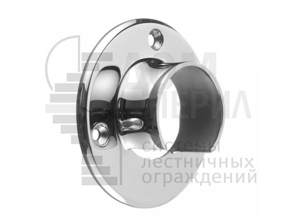 Фланец для поручня Ø48.3 мм с пазом 27х30 мм под стекло, полированный AISI 304