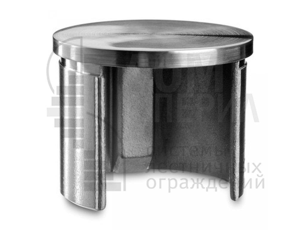Заглушка для поручня Ø48.3 мм с пазом 27х30 мм под стекло, полированная AISI 304