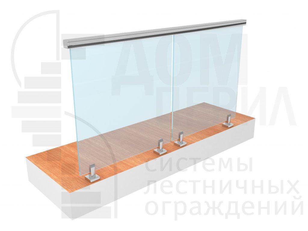Цельностеклянное ограждение на министойках с верхним прямоугольным поручнем