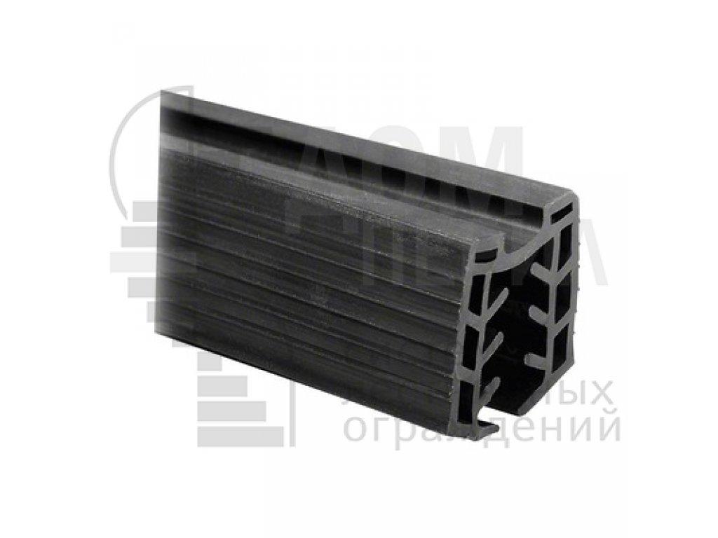 Уплотнитель в поручень с пазом 27х30 для стекла 16 мм, EPDM (хлыст по 3м), цена указана за 1 метр