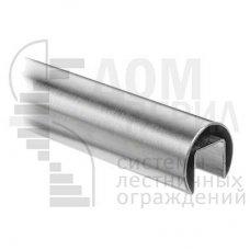 Труба из нерж. стали Ø 48.3 мм, с пазом 27х30 мм под стекло, шлифованная, AISI 201