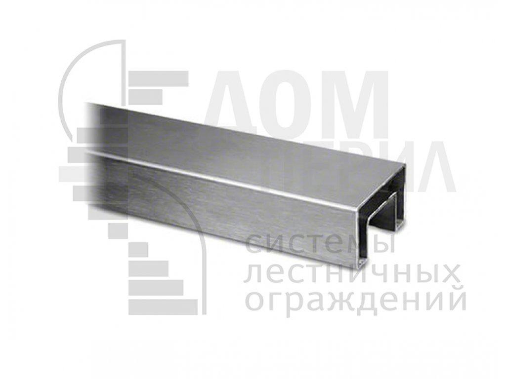 Труба, 40х60 мм, с пазом 24х24 мм под стекло, шлифованная, AISI 304