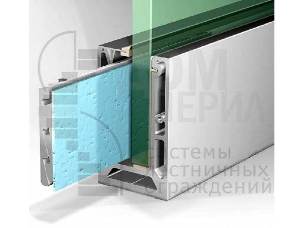 Комплект алюминиевого зажимного (анод) профилядлястеклянных ограждений – ПA-80