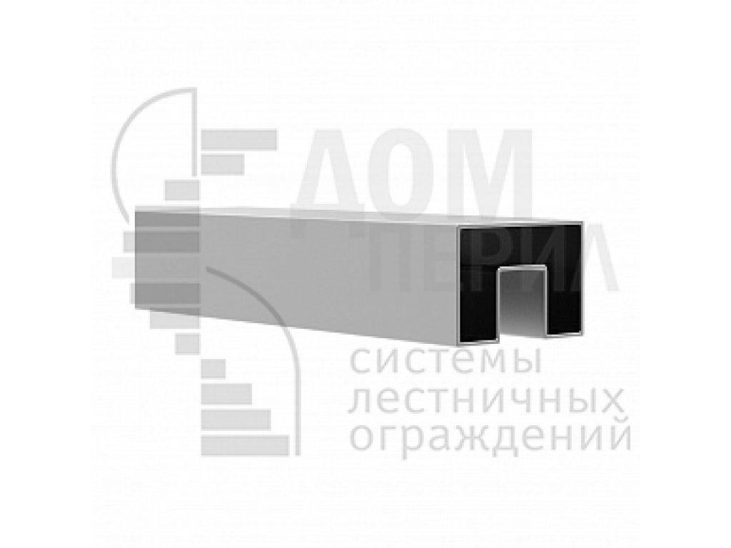 Труба, 40х60 мм, с пазом 24х24 мм под стекло, полированная, AISI 304