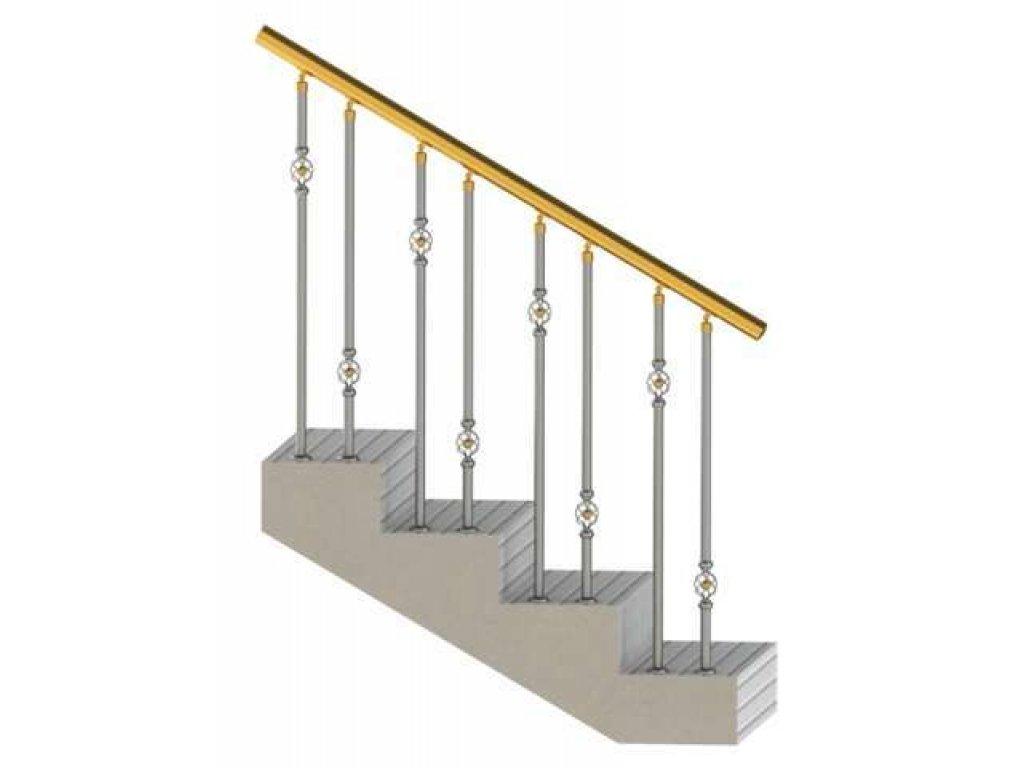 Ограждение с декоративными вставками в стойках (вар 5)