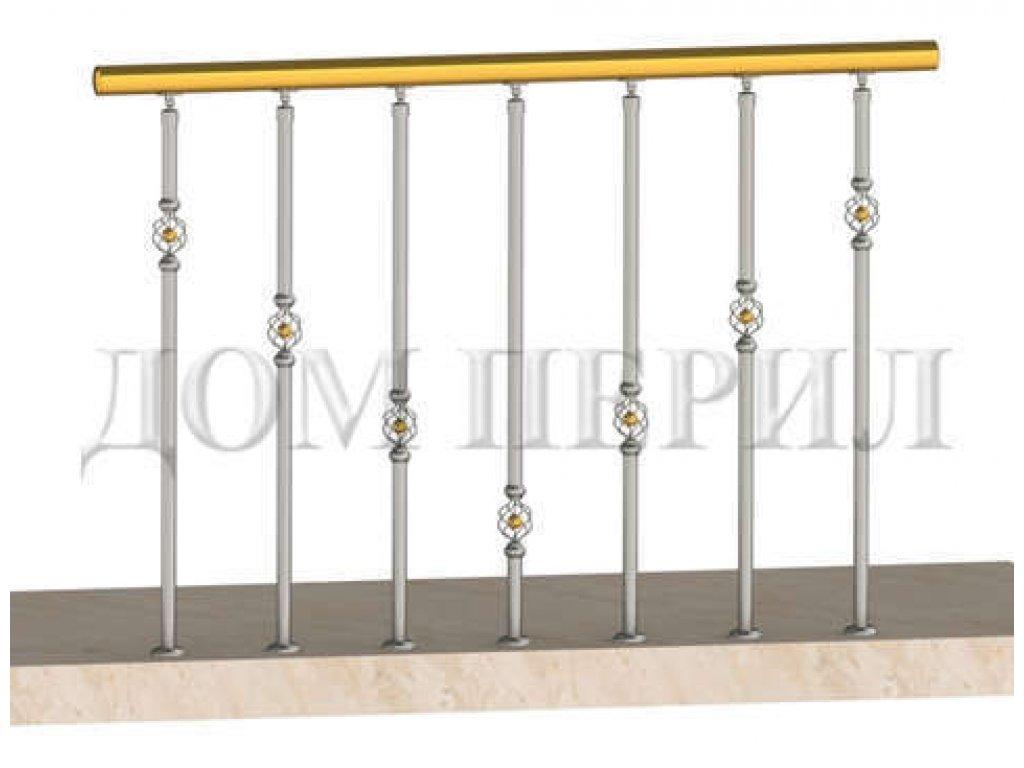 Ограждение балконов с декоративными вставками в стойках (вар 3)