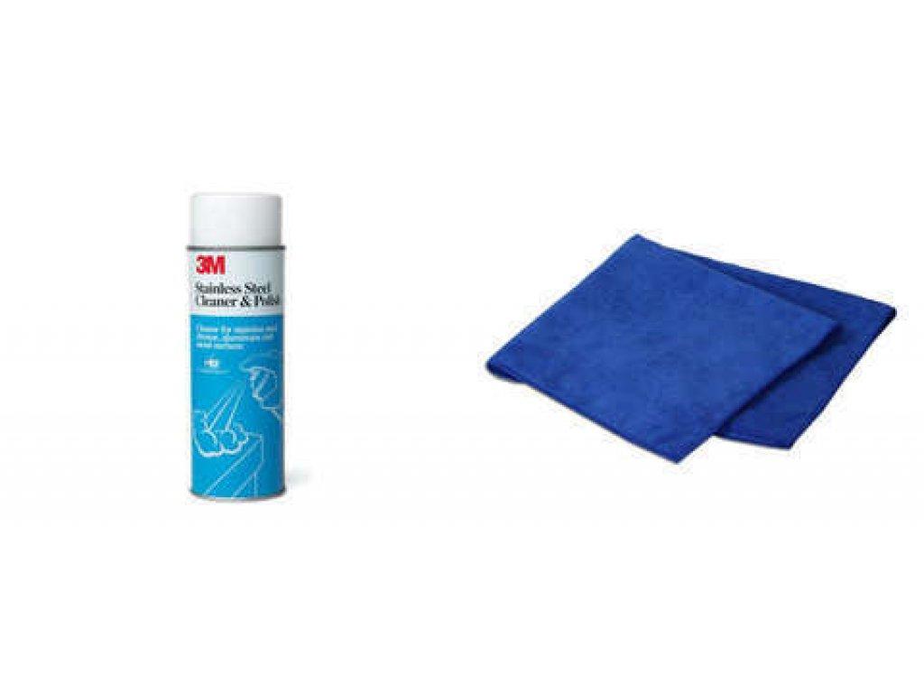 Аэрозоль для чистки и полировки поверхностей из нержавеющей стали 3М Cleaner&Polish + Салфетка чистящая