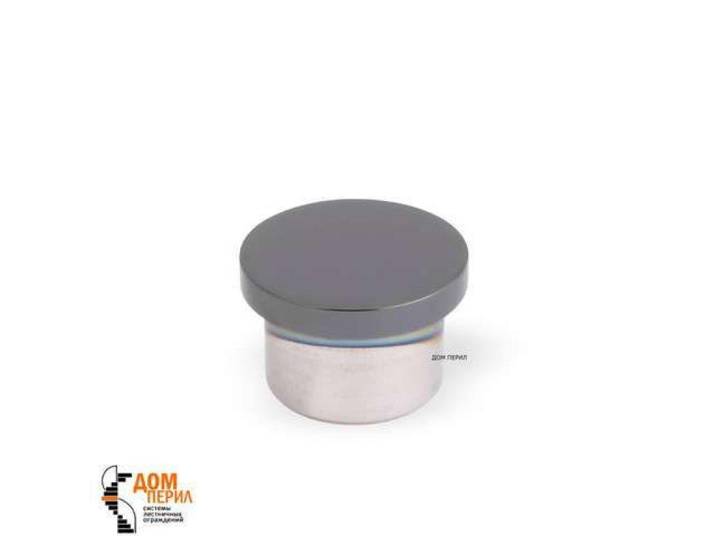 Заглушка плоская под поручень ∅16 мм (черный хром)