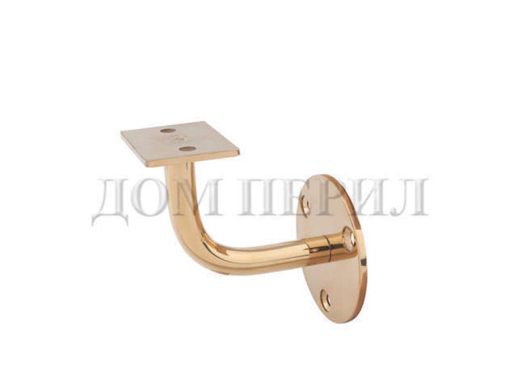 Пристенный кронштейн под плоский, квадратный или фигурный пластиковый поручень (золото)