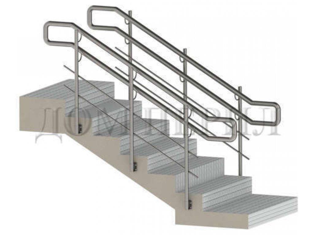 Ограждение из нержавеющей стали для инвалидов, 2 ригеля, боковое креплением стоек к ступеням