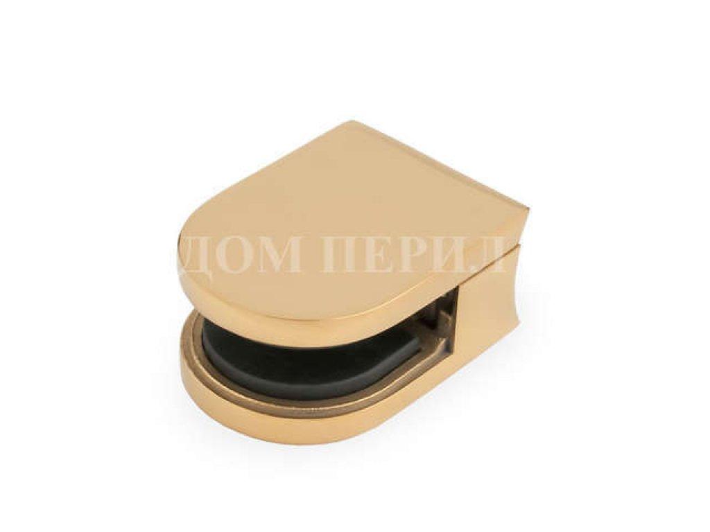 Стеклодержатель полированный под стекло s=8мм для стойки ∅38 мм (под золото)
