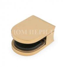 Стеклодержатель полированный под стекло s=8мм для стойки ∅38 мм (под золото) арт.СТ 01-8